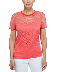 Laundry by Shelli Segal Burnout Short Sleeve T-Shirt