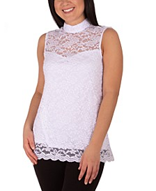 Petite Mock-Neck Lace Top