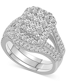 Diamond Rectangular Cluster Bridal Set (1-1/2 ct. t.w.) in 14k White gold