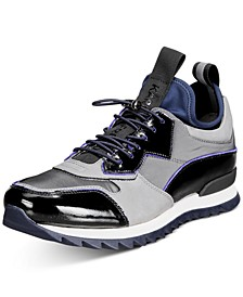 Men's Patent Leather & Neoprene Sock Sneakers