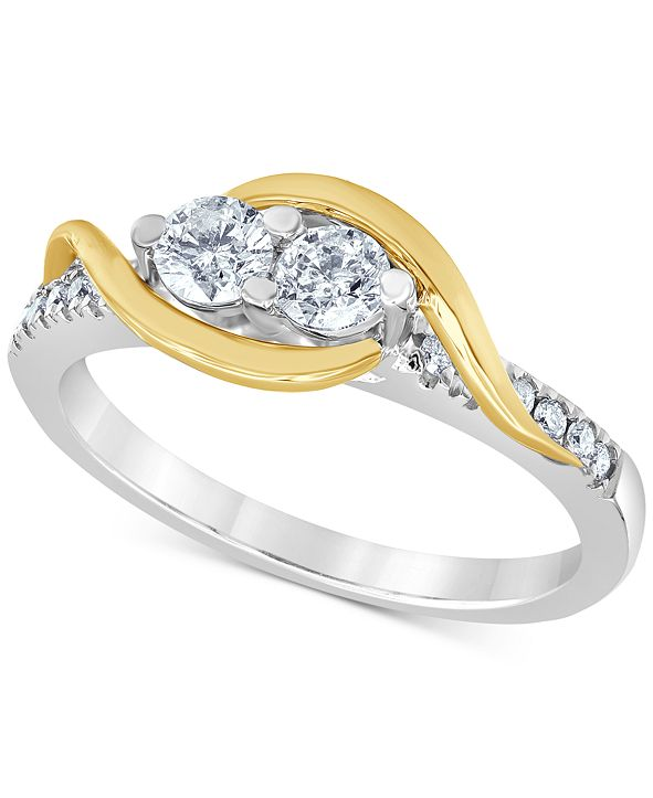 Macy's Diamond Two Souls Engagement Ring (1/2 ct. t.w.) in 14k Gold & White Gold