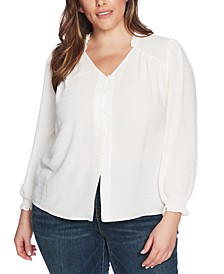 Trendy Plus Size Sheer Windowpane Top