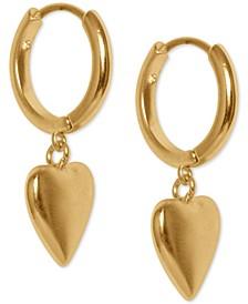 Gold-Tone Heart Dangle Hoop Earrings