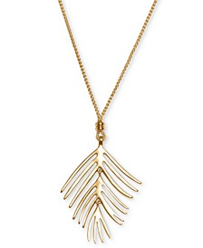 "Gold-Tone Palm Leaf 39"" Adjustable Pendant Necklace"