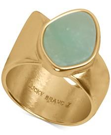 Gold-Tone Stone Asymmetrical Ring