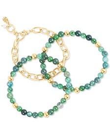 Gold-Tone 3-Pc. Set Link & Stone Beaded Bracelets