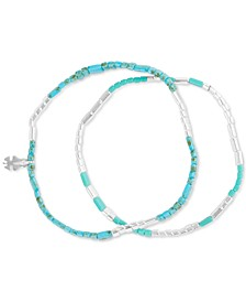 Silver-Tone 2-Pc. Set Stone Flat Beaded Stretch Bracelets