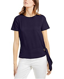 Petite Mixed-Media Tie-Hem Top
