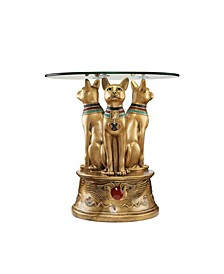 Royal Golden-Tone Bastet Egyptian Side Table