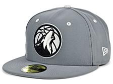 Minnesota Timberwolves Storm Black White Logo 59FIFTY Cap