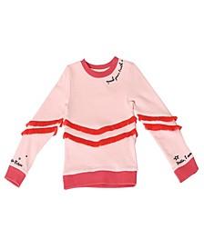 Toddler Girls Crew Neck Fringe Pullover Sweatshirt
