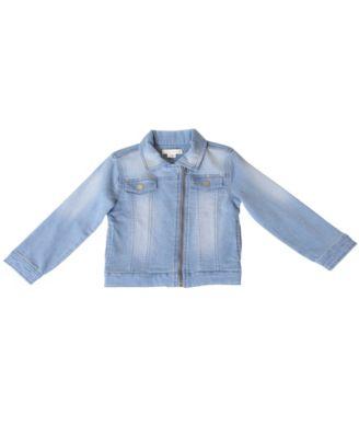 Kinderkind Girls Bell Sleeve Patchwork Faux Denim Jacket