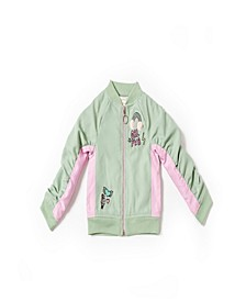 Toddler Girls Color Blocked Zip Up Bomber Jacket