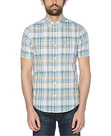 Men's Plaid Stretch Short Sleeve Button-Down Shirt