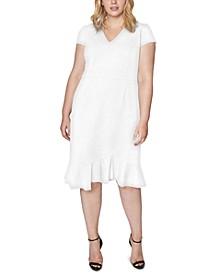 Trendy Plus Size V-Neck Flounce Midi Dress