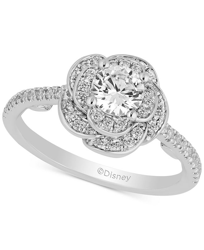 Enchanted Disney Fine Jewelry Enchanted Disney Diamond Rose Belle Ring (1 ct. t.w.) in 14k White Gold