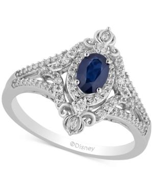 Enchanted Disney Sapphire (1/2 ct. t.w.) & Diamond (1/3 ct. t.w.) Cinderella Ring in 14k White Gold