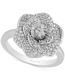 Enchanted Disney Diamond Flower Cinderella Ring (1/2 ct. t.w.) in 14k White Gold