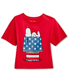 Juniors' Snoopy Stars & Stripes Graphic T-Shirt