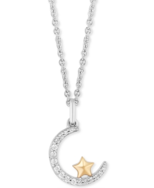 Enchanted Disney Diamond Crescent Moon & Star Jasmine Pendant Necklace (1/10 ct. t.w.) in Sterling Silver & 14k Gold