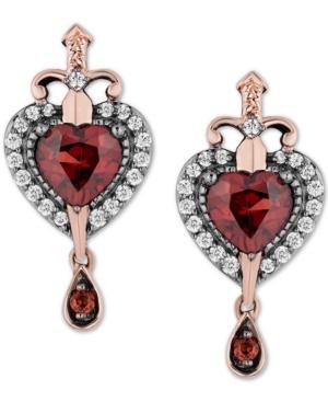 Enchanted Disney Garnet (1-1/10 ct. t.w.) & Diamond (1/5 ct. t.w.) Evil Queen Villains Drop Earrings in 14k Rose Gold & Sterling Silver