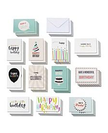 120 Happy Birthday Cards Box Set Variety Pack with Envelopes