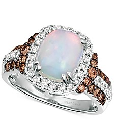 Neopolitan Opal (1-3/8 ct. t.w.) & Diamond (3/4 ct. t.w.) Ring in 14k White Gold
