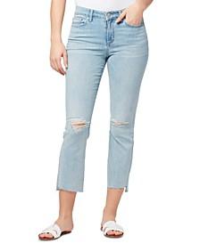Ripped Step-Hem Jeans