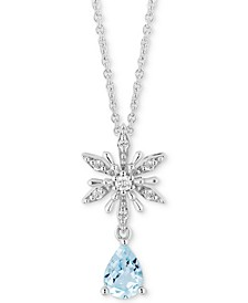 "Enchanted Disney Aquamarine (5/8 ct. t.w.) & Diamond (1/10 ct. t.w.) Elsa Snowflake Pendant Necklace in Sterling Silver, 16"" + 2"" Extender"