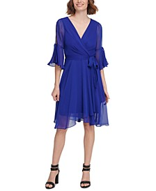 Split Bell-Sleeve Wrap-Look Dress