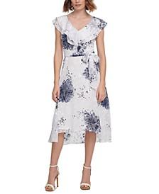 Double-Ruffled V-Neck Midi Dress