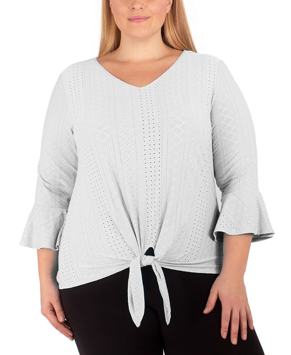 NY Collection Plus Size Tie-Hem Bell-Sleeve Top