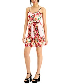 Floral-Print Pleated Party Dress
