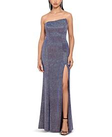 Glitter Strapless Side-Slit Gown
