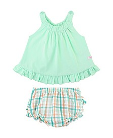 Infant Girls Swing Top and Presley Plaid Ruffle Bloomer Set