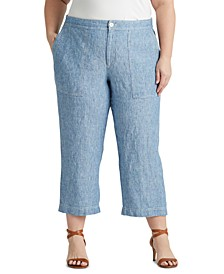 Plus Size Wide-Leg Chambray Pants