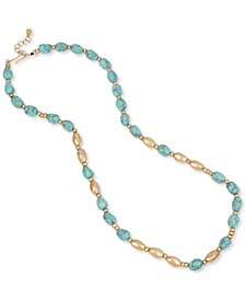 """Gold-Tone Stone Beaded Strand Necklace, 31"""" + 2"""" extender"""