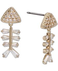 Gold-Tone Crystal Fish Skeleton Drop Earrings