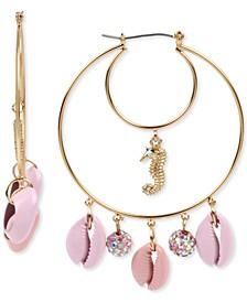 Gold-Tone Seahorse & Puka Shell Double Hoop Earrings