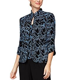 Abstract-Print Mandarin Collar Jacket & Sleeveless Top