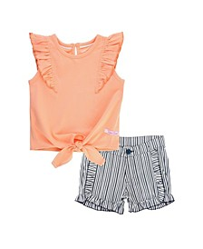 Infant Girls Peach Ruffle Tie Top and Stripe Ruffle Trim Shorts Set