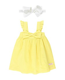 Baby Girl Lemon Flutter Bow Dress and Bow Headband Set