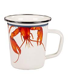 Lobster Enamelware Latte Mugs, Set of 4