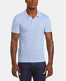 Men's Slim Fit Short Sleeve Micro Croc Print Cotton Pique Polo Shirt