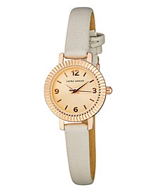 Women's Coin Edge Bezel Gray Polyurethane Strap Watch 26mm
