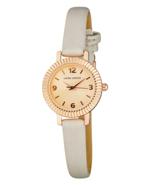 Women's Coin Edge Bezel Gray Polyurethane Strap Watch 26mm