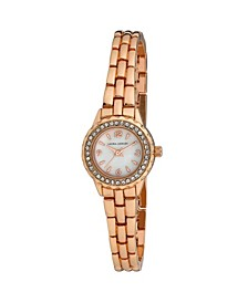 Women's Mini Link Crystal Bezel Pink Alloy Bracelet Watch 26mm