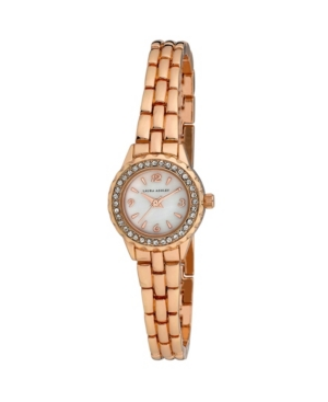 Women's Mini Link Crystal Bezel Pink Alloy Bracelet Watch 26mm