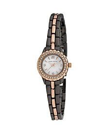 Women's Mini Link Crystal Bezel Charcoal Alloy Bracelet Watch 26mm
