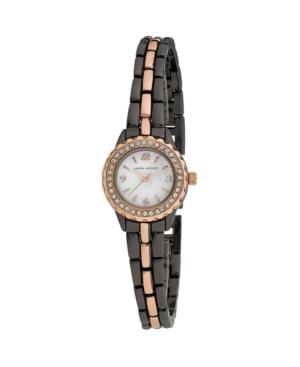 Women's Mini Link Crystal Bezel Charcoal Alloy Bracelet Watch 26mm